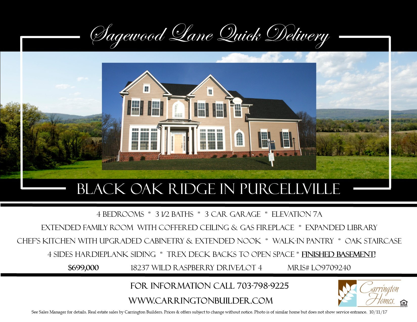 Immediate Delivery Home at Black Oak Ridge in Purcellville – Carrington Homes Floor Plans